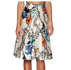 Tibi Tattoo Print Gazar Pleated Silk Revolve Skirt